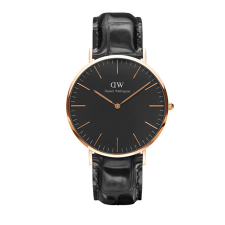 【部落客推薦】gohappy 線上快樂購Daniel Wellington 黑色壓紋皮革腕錶-金框/40mm(DW00100129)去哪買gohappy 快樂 購 網站
