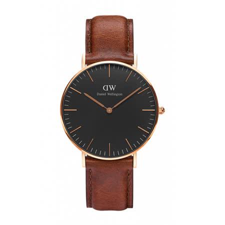 Daniel Wellington 經典淺紅咖啡皮革腕錶-金框/36mm(DW00100136)