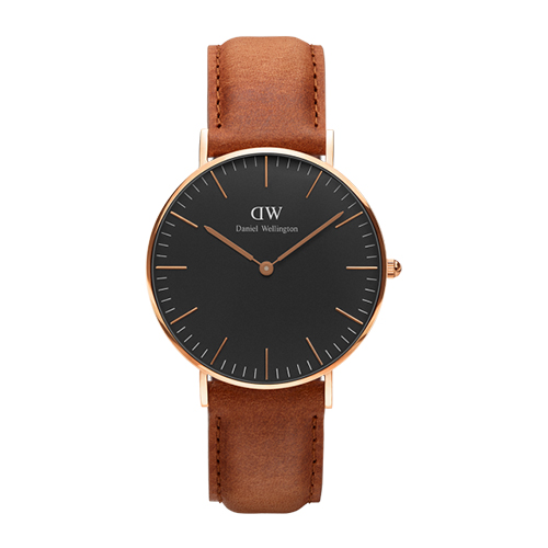 Daniel Wellington 棕色皮革腕錶~金框36mm^(DW00100138^)