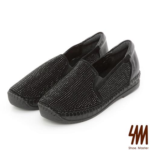 ~SM~星鑽真皮系列~鑽面手縫馬克楔型莫卡辛休閒鞋~黑色