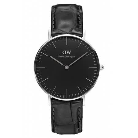 【勸敗】gohappy快樂購物網Daniel Wellington 經典黑色壓紋皮革腕錶-銀框/36mm(DW00100147)推薦遠 百 停車