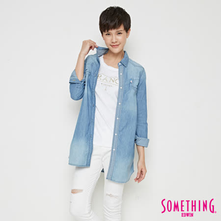 SOMETHING 條紋長版牛仔襯衫外套-女-漂淺藍