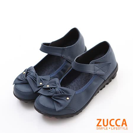 ZUCCA【Z6008BE】疊層朵結魔鬼氈平底鞋-藍色