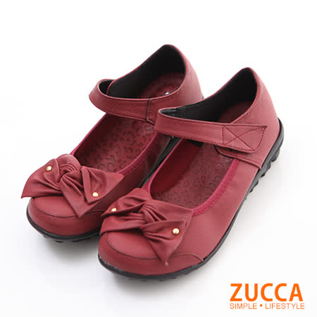 ZUCCA【Z6008RD】疊層朵結魔鬼氈平底鞋-紅色