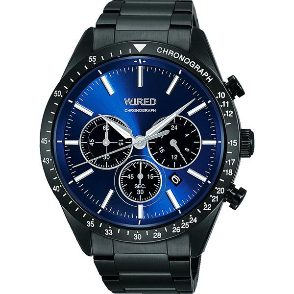 WIRED 東京潮流三眼計時腕錶~藍x鍍黑46mm VD53~KE30B^(AY8006X