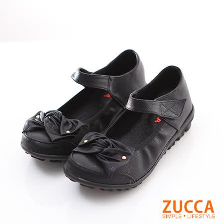 ZUCCA【Z6008BK】疊層朵結魔鬼氈平底鞋-黑色