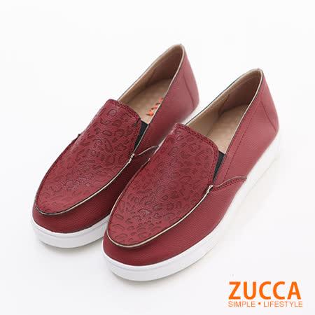 ZUCCA【Z6022RD】日系漆皮豹紋厚底包鞋-紅色