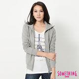 SOMETHING 立領拉鍊外套-女- 麻灰色