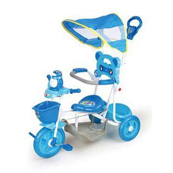 寶貝樂精選 遮陽棚俏皮企鵝音樂三輪車 藍色