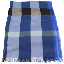 BURBERRY 英系經典格紋絲質羊毛披肩圍巾/絲巾.藍