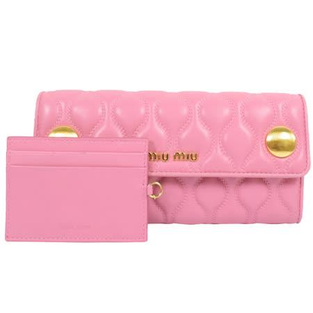 MIU MIU 經典浮雕LOGO小羊皮雙扣長夾.粉紅