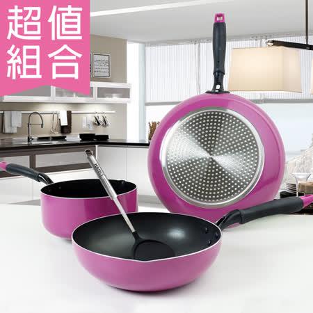 【超值組合】日式不沾平煎鍋30cm+日式奶鍋20cm+日式不沾炒煮鍋30cm+白金剛尼龍煎匙
