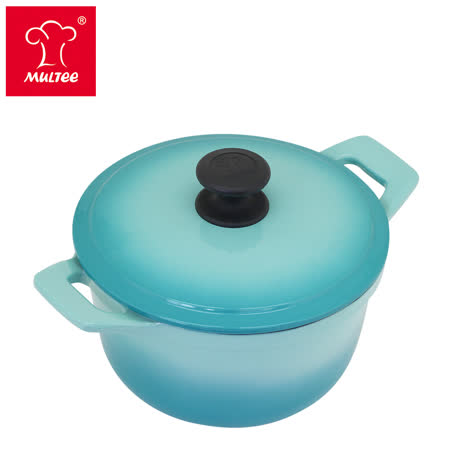 【MULTEE摩堤_鑄鐵鍋系列】20cm內黑琺瑯鑄鐵圓鍋(TIFFANY藍)