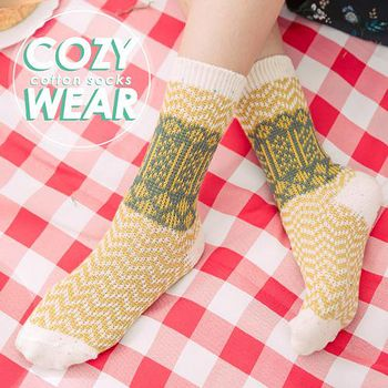 蒂巴蕾Deparee COZY WEAR 雙針棉襪-蘇格蘭 檸檬黃/桃紅/湖綠