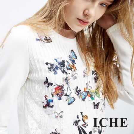 ICHE衣哲 3D立體蕾絲蝴蝶拼接上衣
