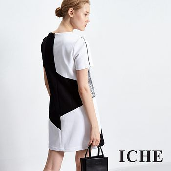 ICHE衣哲 線條印花拼接禮服洋裝