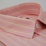 【金安德森】粉橘底白粉條紋窄版長袖襯衫(品特)