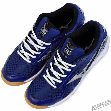 mizuno 男 CYCLONE POWER 排/羽球鞋 藍 -V1GA158025