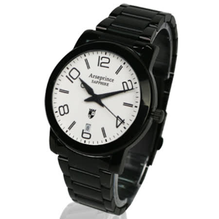【Arseprince】藍圈指針時尚中性錶-黑白色