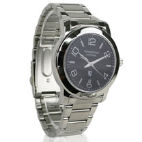 【Arseprince】藍圈指針時尚中性錶-銀黑色