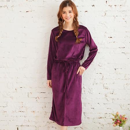 Wonderland 甜美迷人棉絨抽繩居家洋裝(紫)