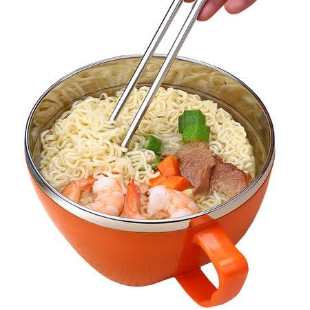 PUSH!餐具防燙防摔加厚304不鏽鋼碗泡麵碗飯碗湯碗帶蓋大號E78