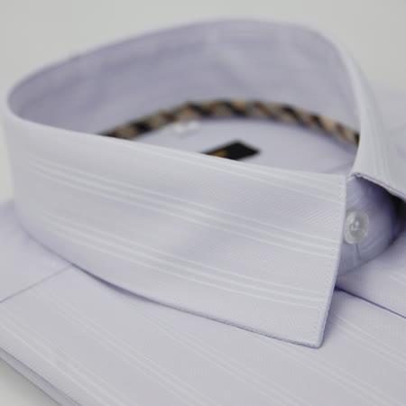 【金安德森】經典格紋繞領淺紫底白色條紋長袖襯衫