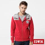 EDWIN 江戶勝 立領布章連帽外套-男-紅色