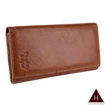 【H-CT】三折設計壓扣棕色真皮長夾(P-WD9004-5 啡HD-Z)