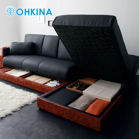 【OHKINA】日系軟皮革複合式沙發床+躺椅