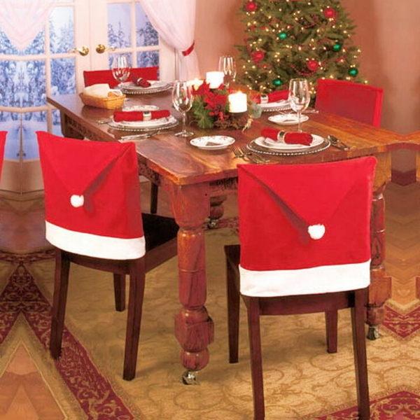 ~PS Mall~聖誕節裝飾 無紡布紅色聖誕帽子 餐桌裝飾椅靠背套 ^(J2070^)