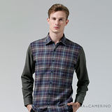 ROBERTA諾貝達 台灣製 合身版 經典格紋羊毛長袖厚襯衫 紫灰