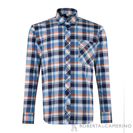 ROBERTA諾貝達 台灣製 經典格紋 純棉休閒長袖厚襯衫 藍色