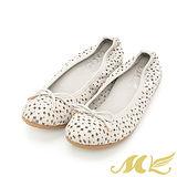 【MK】全真皮系列-美人心機蝴蝶結花朵鏤空娃娃鞋-灰色