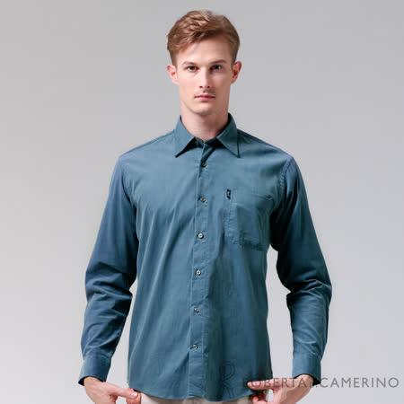 ROBERTA諾貝達 嚴選穿搭 純棉休閒百搭長袖厚襯衫 藍色