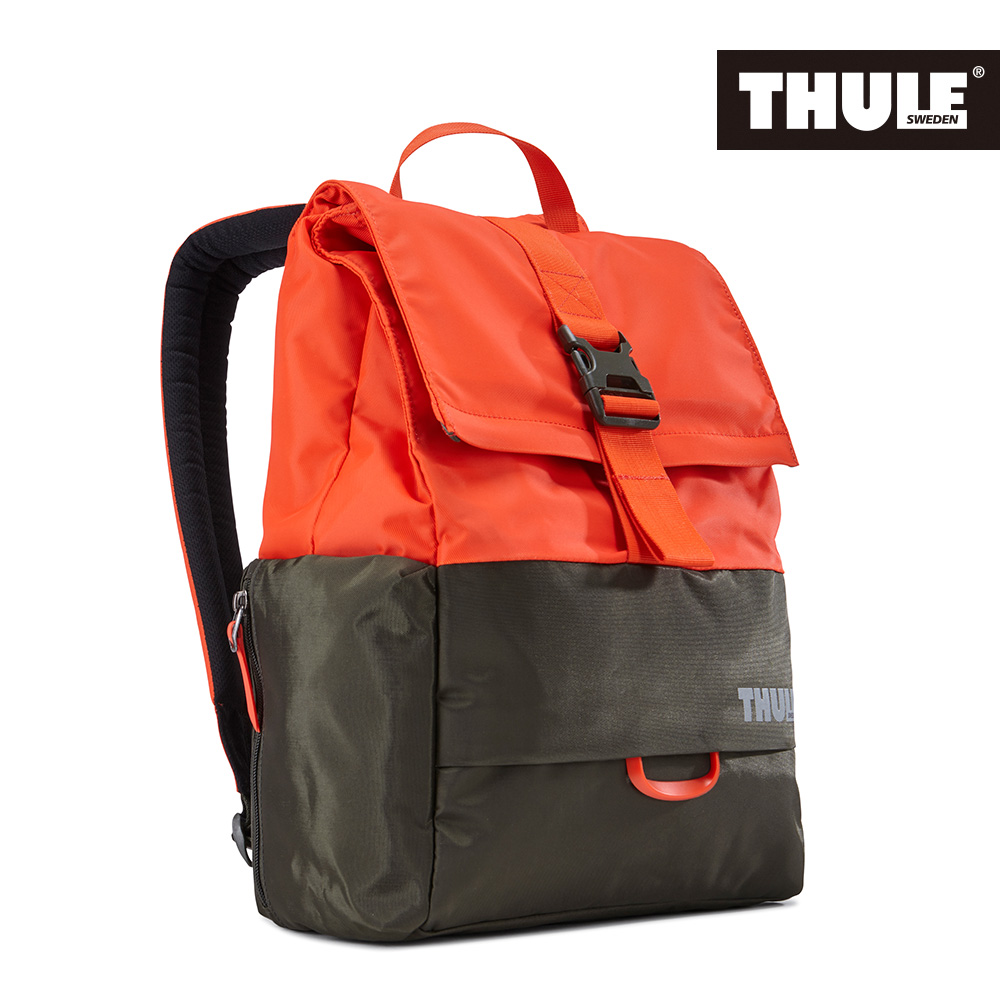THULE 都樂~Daypack多 13吋電腦雙肩後背包TDSB~113~橙橘褐綠^(忠欣