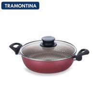 TRAMONTINA Paris系列26公分專業深湯鍋含鍋蓋(紅色)
