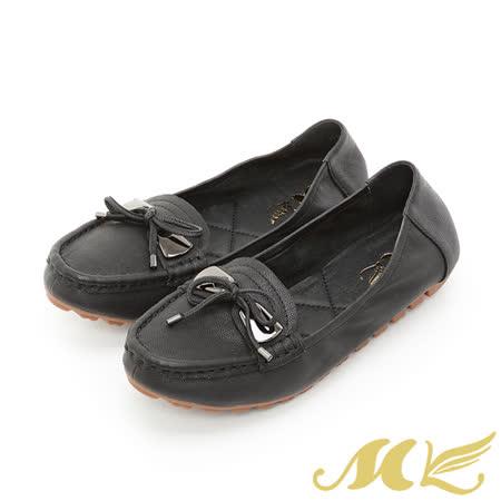 【MK】全真皮系列-蝴蝶結搭扣輕便摺疊樂福鞋-黑色