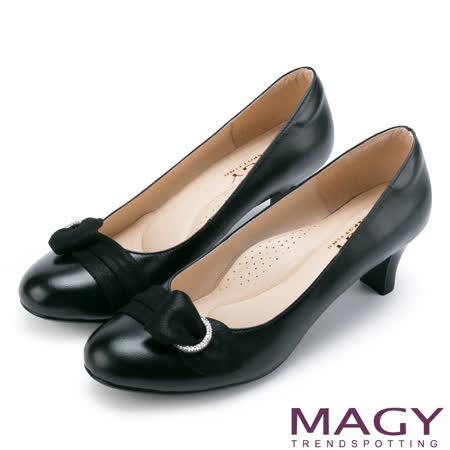 MAGY 氣質首選 典雅鑽環羊絨真皮中跟鞋-黑色