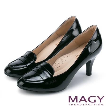 MAGY 復古典雅 鏡面牛皮氣質素面高跟鞋-黑色