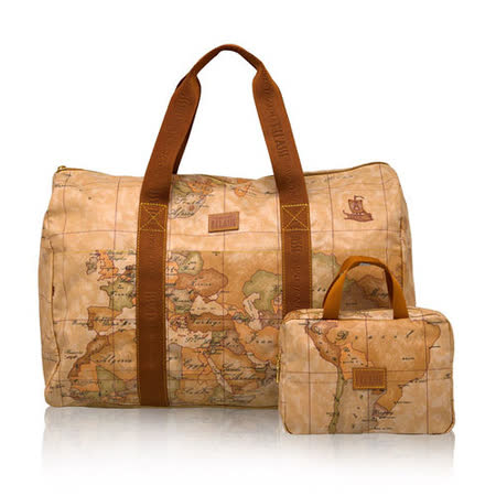 Alviero Martini 義大利地圖包 輕便可折疊PU手提旅行袋(大)-地圖黃