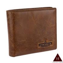 【H-CT】牛皮紙感簡約棕色真皮短夾(A689-3603-Z)