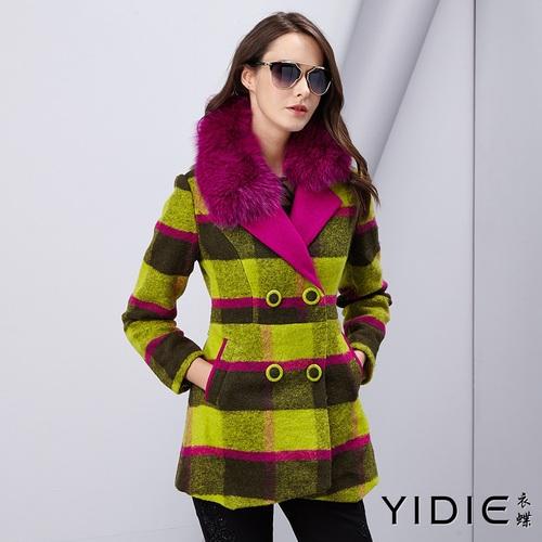 【YIDIE衣蝶】亮彩毛領格紋羊毛外套