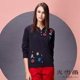 【麥雪爾】立領花朵純棉針織衫 -藍黑色