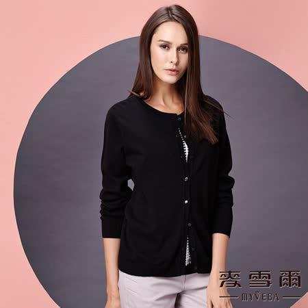 【麥雪爾】假兩件式格紋純棉針織衫 -黑色