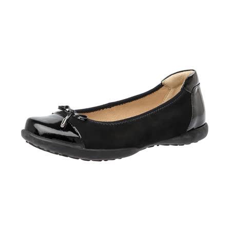 【Kimo德國手工氣墊鞋】雙質感麂皮蝴蝶結平底娃娃鞋(暗夜黑K16WF006363)