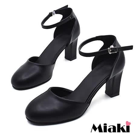 【Miaki】高跟鞋首爾簡約典雅皮質圓頭繫帶裸踝低跟包鞋 (黑色)