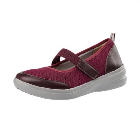 【Kimo德國手工氣墊鞋】網布繫帶彈性輕質舒適平底休閒鞋(暗酒紅K16WF071127)