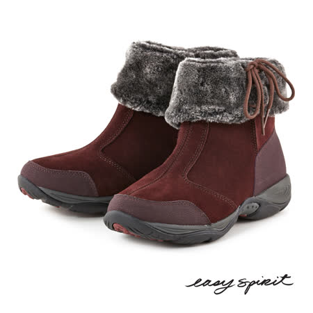 Easy Spirit--旅行輕量反摺鋪毛短靴--時髦酒紅