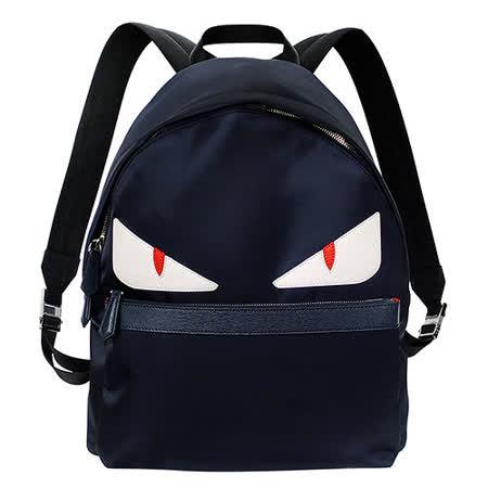 FENDI MONSTER白眼怪獸深藍尼龍雙肩後背包